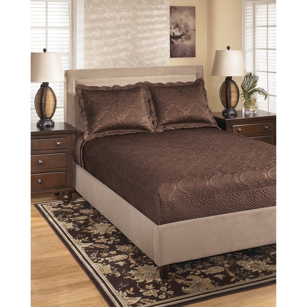Signature Design by Ashley Laura Chocolate Textured Bedding Set