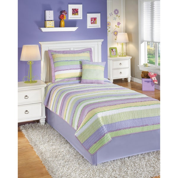 Signature Design by Ashley Ana Pastel Ruffle-trim Bedding Set