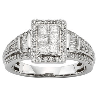 Sofia 10k White Gold 1ct TDW Diamond Halo Engagement Ring (H-I, I1-I2)