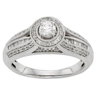 Sofia 10k White Gold 1/2ct TDW Round-cut Diamond Halo Engagement Ring