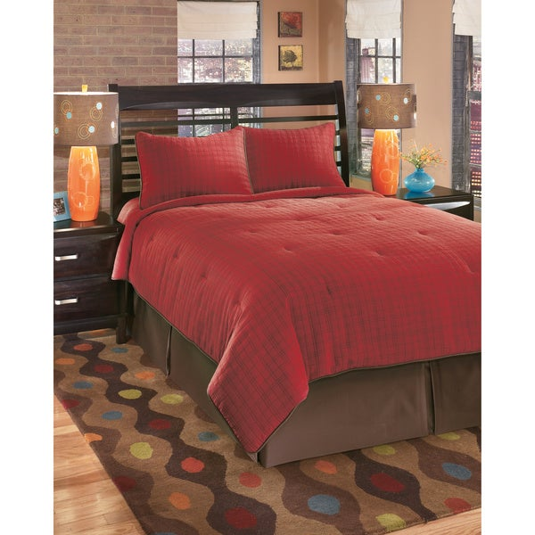 shop signature designs by ashley interlude brick plaid bedding set free shipping today. Black Bedroom Furniture Sets. Home Design Ideas