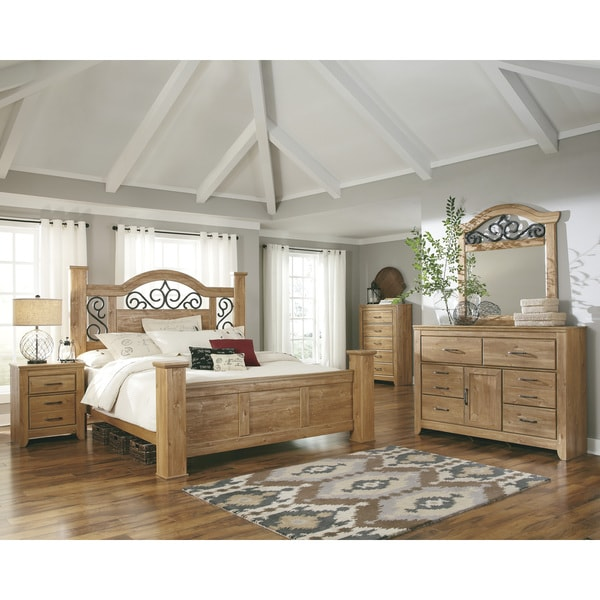 Shop Signature Design By Ashley Drogan Light Brown Wood And Iron Poster Bed Free Shipping