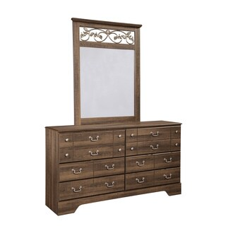 Signature Design by Ashley 'Allymore' Vintage Brown Dresser and Mirror Set
