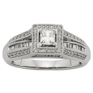 Sofia 10k White Gold 1/2ct TDW Princess-cut Diamond Engagement Ring