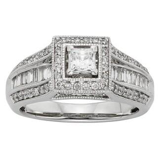 Sofia 10k White Gold 1ct TDW Diamond Halo Engagement Ring