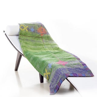 Bassetti Halili Green/ Purple Throw Blanket