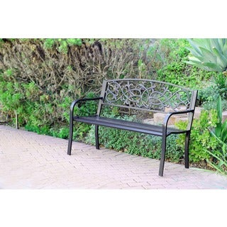 Scrolling Hearts Curved-back Steel Park Bench