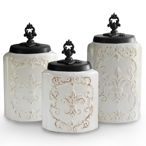 Antique White Canisters Set Of 3 Free Shipping Today