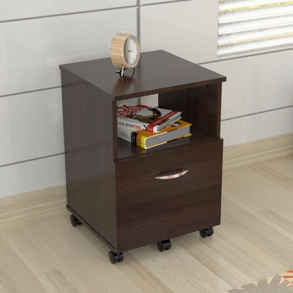 Mobile Single Drawer Espresso File Cabinet