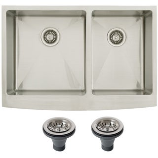 Ticor 4414BG-DEL 33-inch 16-gauge Stainless Steel Curved Front Double Bowl Undermount Farmhouse Apron Kitchen Sink