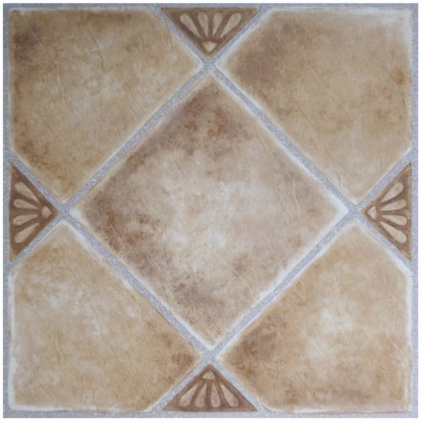 Achim Nexus Beige Clay Diamond with Accents 12x12 Self Adhesive Vinyl Floor  Tile - 20 Tiles/20 sq  ft  - Multi-color