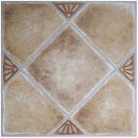 Achim Nexus Beige Clay Diamond with Accents 12x12 Self Adhesive Vinyl Floor Tile - 20 Tiles/20 sq. ft. - Multi-color