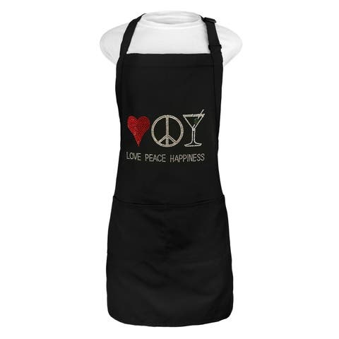 Kaufman Love Peace & Happiness Apron with adjustable neck. 2 pockets