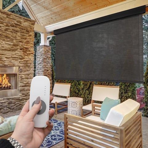 Keystone Fabrics Motorized Premium Outdoor Sun Shade with Remote and Aluminum Valance