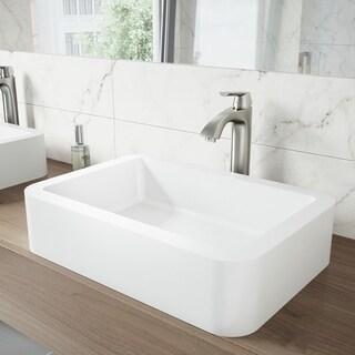 VIGO Linus Bathroom Vessel Faucet in PVD Brushed Nickel
