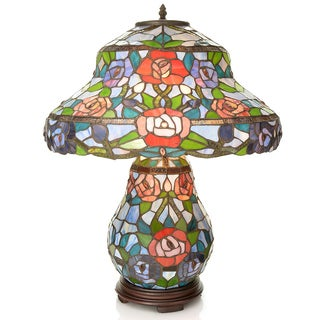 Tiffany-style 'Rose' Double Lit Table Lamp