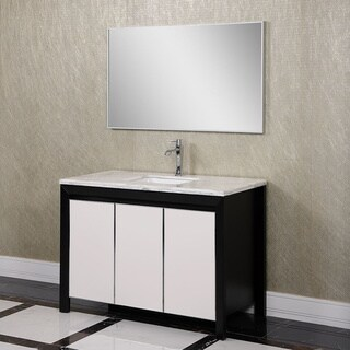 Carrara White Marble 47-inch Single Sink Bathroom Vanity with touch LED Wall Mirror