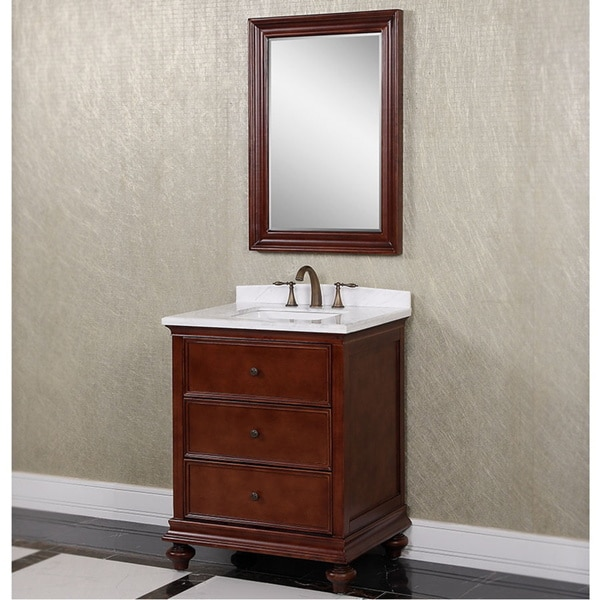 bathroom vanity with brown marble top shop carrara brown white marble 30 inch single sink