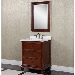 Carrara Brown/ White Marble 30-inch Single Sink Bathroom Vanity with Wall Mirror
