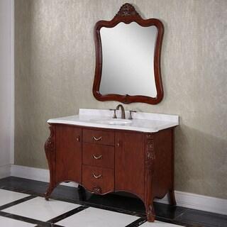 Carrara White Marble Top Brown 53-inch Single Sink Bathroom Vanity with Matching Mirror