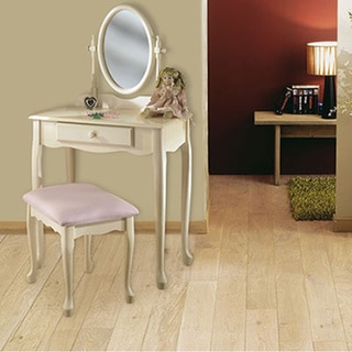 Powell Off-White Vanity, Mirror and Bench