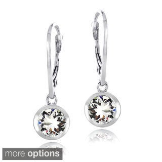 Crystal Ice Sterling Silver Crystal Round Leverback Earrings