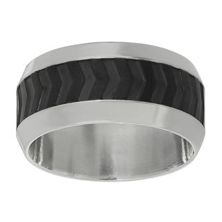 Stainless Steel extured Black ion-plated Center Ring