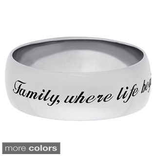 Sweet Sentiments Sterling Silver or Gold over Sterling Engraved Family Message Band