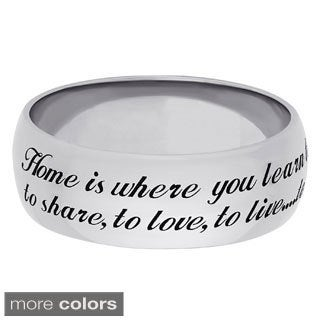 Sweet Sentiments Sterling Silver or Gold over Sterling Silver Engraved Home Message Band