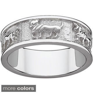 Sterling Silver or Gold over Sterling Textured Aries Zodiac Band