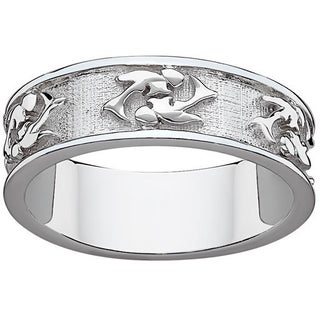 Sterling Silver or Gold over Sterling Textured Pisces Zodiac Band (More options available)