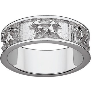 Sterling Silver or Gold over Sterling Gemini Zodiac Band (More options available)