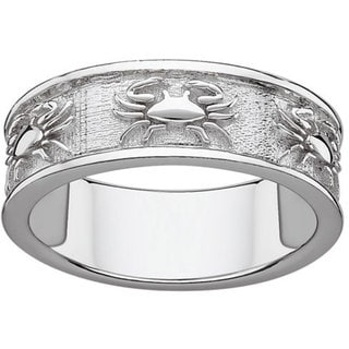 Sterling Silver or Gold over Sterling Textured Cancer Zodiac Band