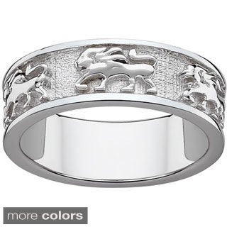 Sterling Silver or Gold over Sterling Textured Leo Zodiac Band