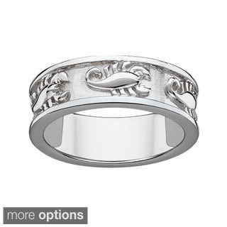 Sterling Silver or Gold over Sterling Textured Scorpio Zodiac Band