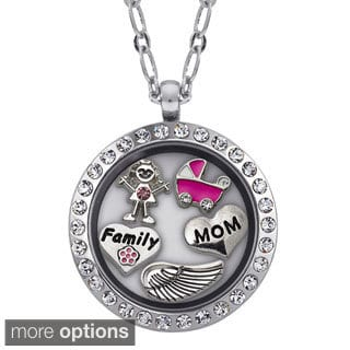 Charming Life Round Rhinestone Personalized It's a Girl Charm Locket