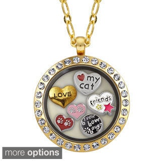 Charming Life Round Rhinestone Cat Lover Charm Locket