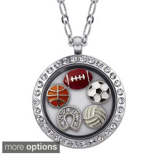 Charming Life Round Rhinestone Sports Lover Charm Locket