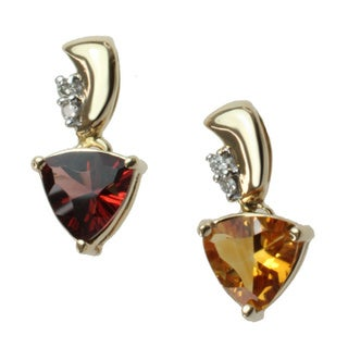 M.V. Jewels 10k or 14k Yellow Gold Citrine or Garnet and Diamond Accent Pendant