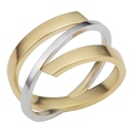 Two-Tone Criss Cross Gold Rings