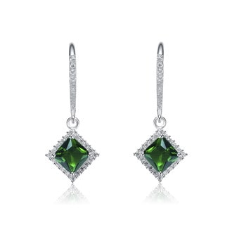 Collette Z Sterling Silver Green And White Cubic Zirconia Square Drop Earrings