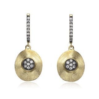 Collette Z Gold and Black-plated Sterling Silver Cubic Zirconia Oval Drop Earrings