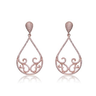 Collette Z Rose-plated Sterling Silver Cubic Zirconia Peardrop Swirl Design Earrings