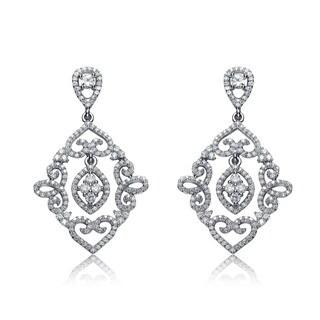 Collette Z Sterling Silver Lace Design Diamond-shape Dangling Earrings