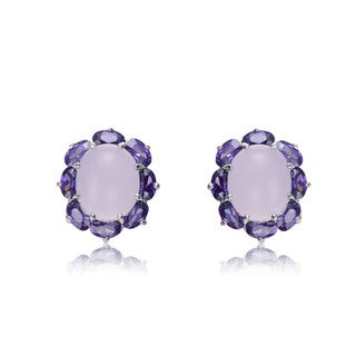 Collette Z Sterling Silver Purple Cubic Zirconia and Pink Glass Oval Shape Earrings