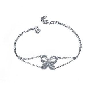Collette Z Sterling Silver Cubic Zirconia Bow Tie Bracelet