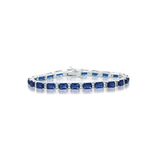 Collette Z Sterling Silver Blue and White Cubic Zirconia Emerald-cut Tennis Style Bracelet
