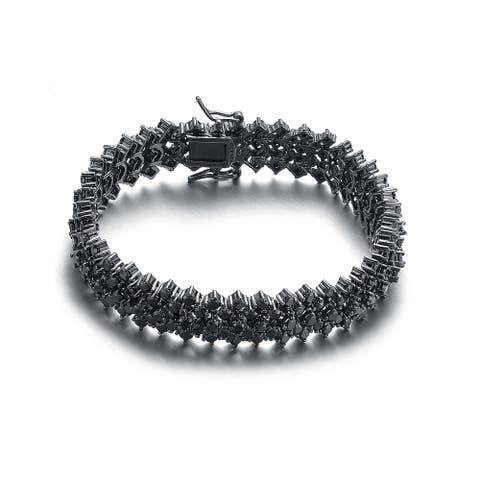 Collette Z Black-plated Sterling Silver Black Cubic Zirconia 5 Row Tennis Bracelet