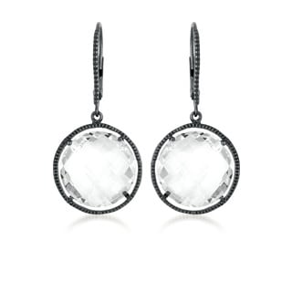 Collette Z Black-plated Sterling Silver Clear Crystal Quartz Round Dangle Earrings
