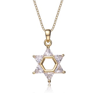 Collette Z Gold-plated Sterling Silver White Cubic Zirconia Star of David Necklace
